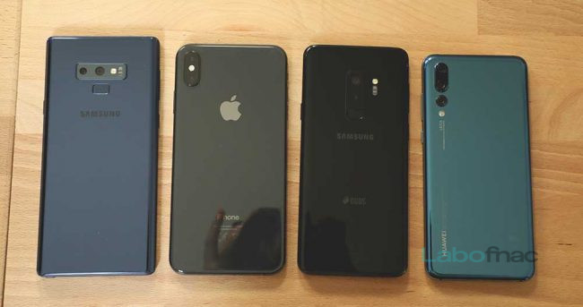 comparatif iPhone Xs et iPhone Xs Max vs Samsung Galaxy S9+, Note 9 et Huawei P20 Pro