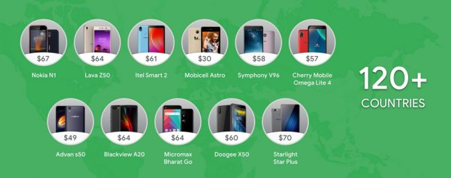 Smartphones avec Android Go Edition