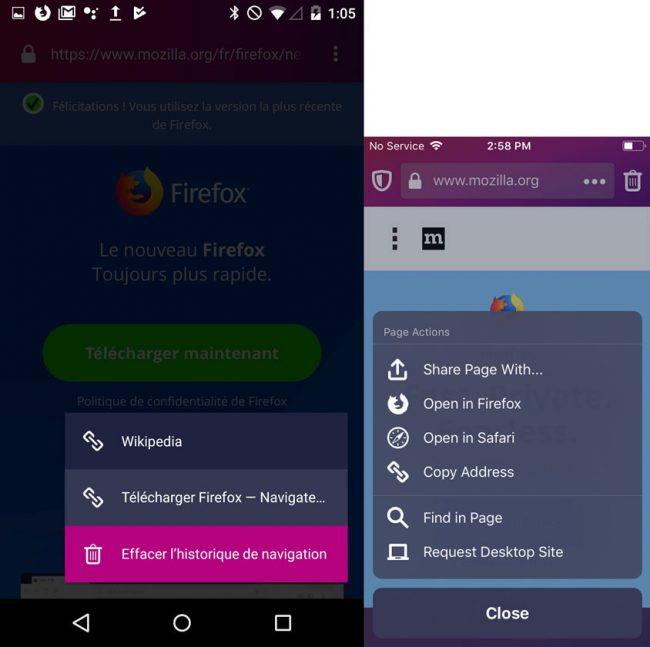 La nouvelle interface de Firefox Focus, optimisée pour Android Pie (à gauche) et iOS 12 (à droite) © Mozilla