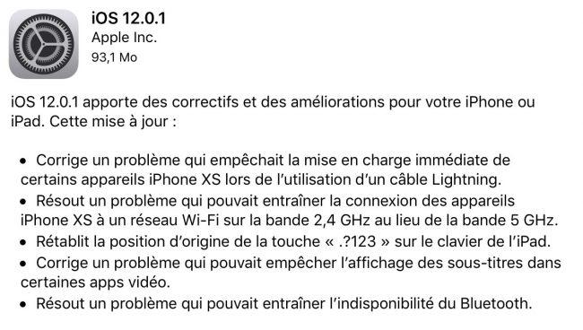 iPhone iPad iOS 12.0.1