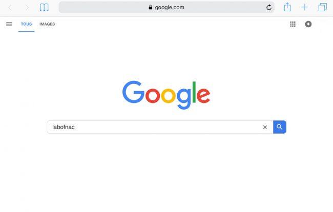 Safari et le moteur de recherche Google sur iOS © Capture d'écran