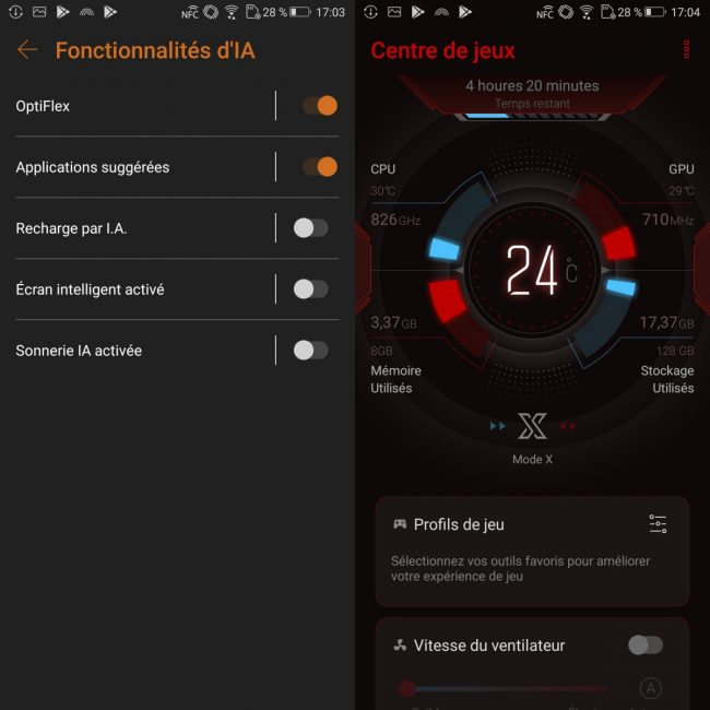 Android 8.1 + surcouche Asus ROG Gaming Mode X