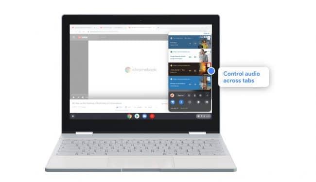 Commandes de lecture dans centre de notifications de Chrome OS