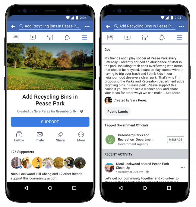 Community Actions sur Facebook