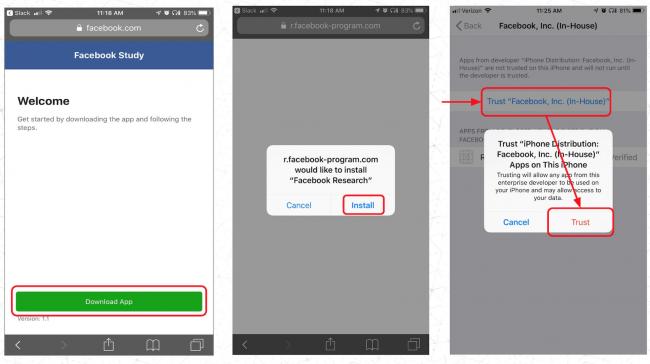 Installation de Facebook Research sur iOS © TechCrunch