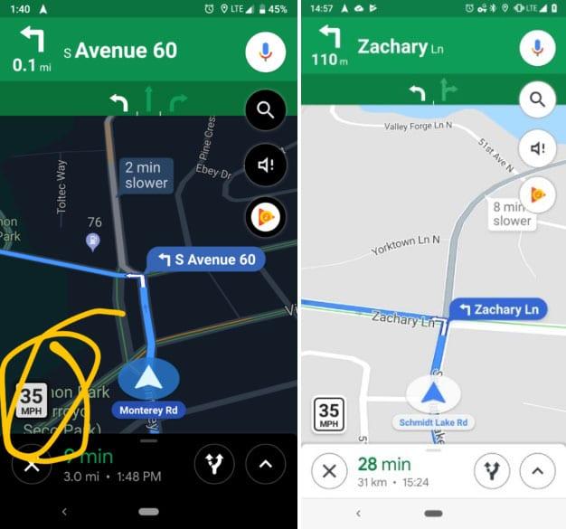 Google Maps limitations vitesse