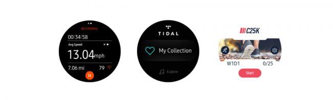 Applications Strava, Tidal et C25K pour Samsung Gear S3 et Gear Sport