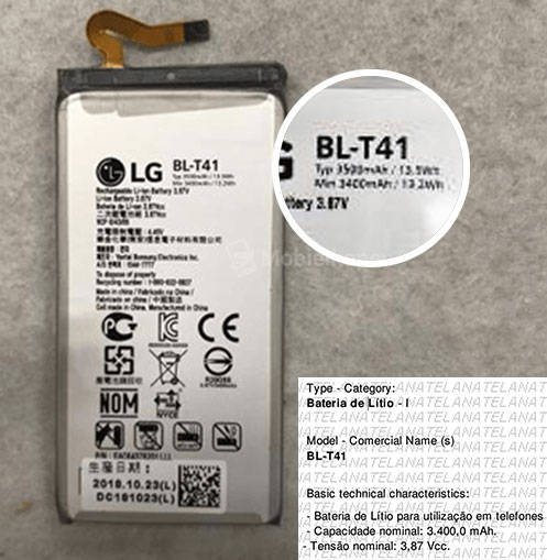 La batterie du LG G8 ThinQ porte le numéro de modèle BL-T41 © Mobiel Kopen