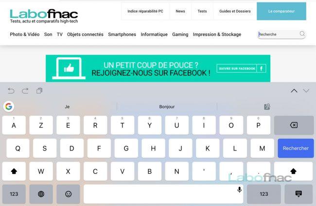 Le clavier Gboard sur iPad © Capture d'écran
