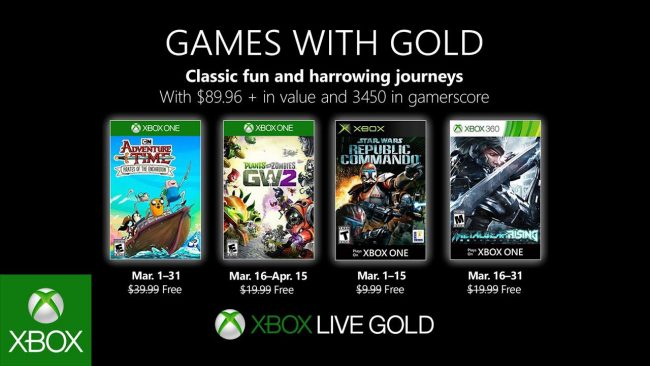 Xbox Games with Gold de mars 2019
