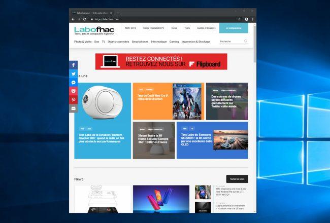 Le mode sombre de Google Chrome sous Windows 10 © LaboFnac
