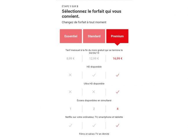 Les «faux» tarifs de Netflix sur mobile, de 8,99 euros à 16,99 euros © Capture d'écran (Netflix)