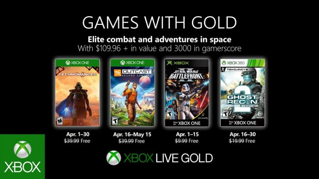 Jeux Games with Gold avril 2019