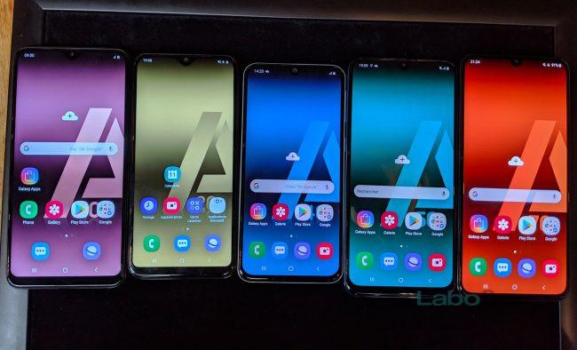 De gauche à droite, les Galaxy A10, A20e, A40, A50 et A70. © LaboFnac
