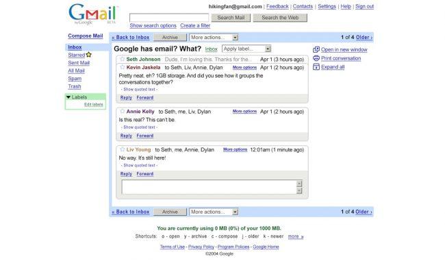 Gmail en 2004 © Google