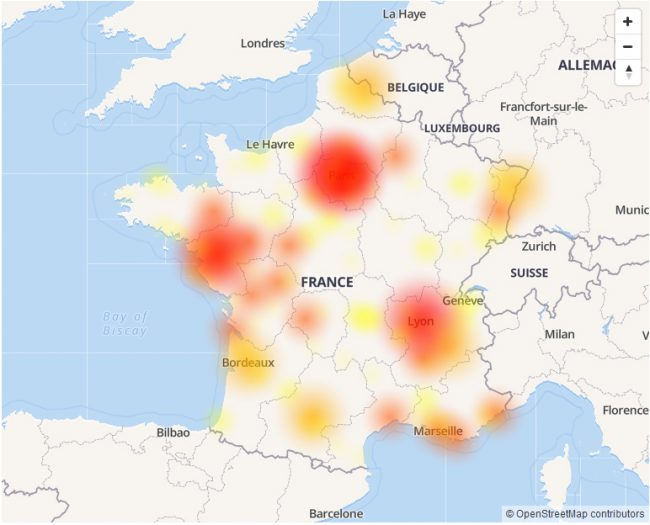 © Capture d'écran (downdetector.fr)