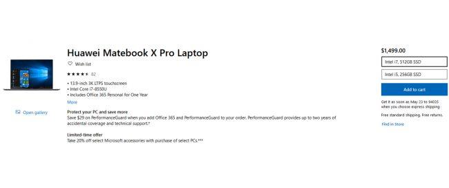 Huawei MateBook X Pro Microsoft Store