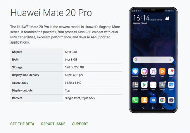 Le Mate 20 Pro est de retour sur le site Android