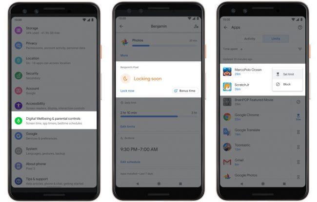 Android Q contrôle parental