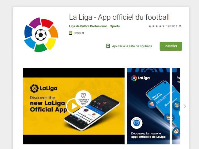 L'application La Liga sur le magasin Google Play © Capture d'écran (Google)