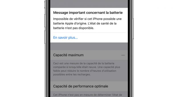 Apple iPhone message batterie