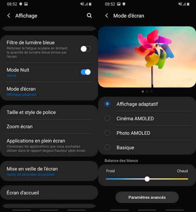 Interface Samsung Galaxy A40