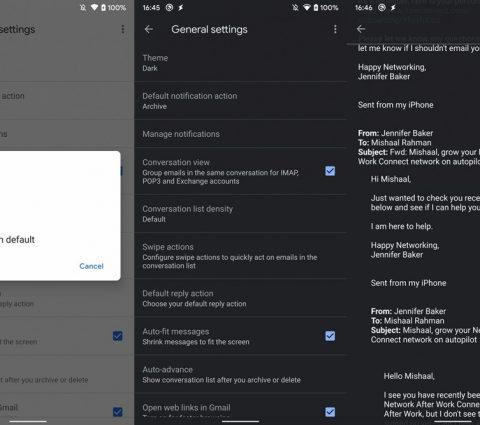 L'application Gmail s'offre un mode sombre sur Android 10