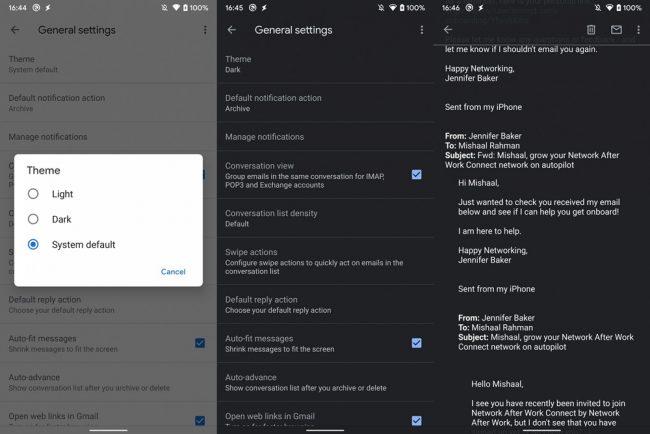 Gmail thème sombre