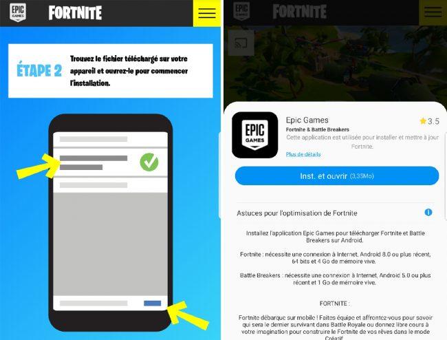 Fortnite n'est pas disponible sur le Play Store de Google, mais il est présent sur le Galaxy Apps Store de Samsung © Capture d'écran/Labo Fnac