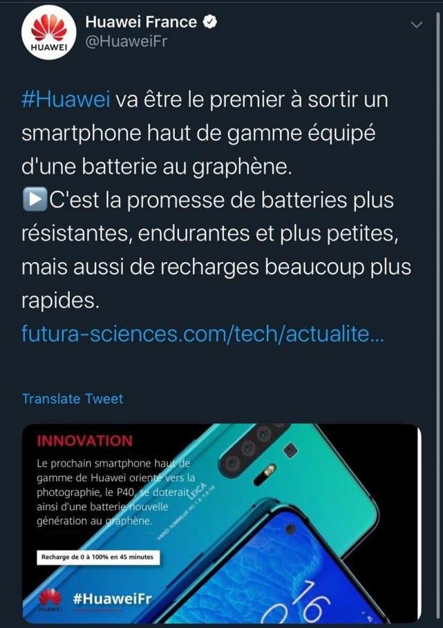 Pas de batterie au graphène pour le Huawei P40