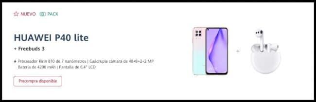 Offre de précommande pour le Huawei P40 Lite en Espagne