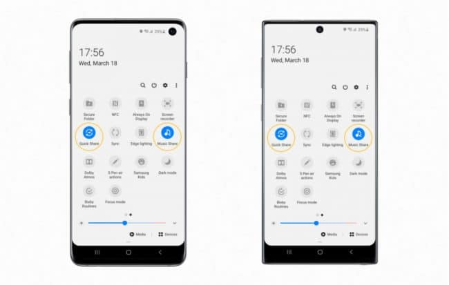Quick Share et Music Share sur les Galaxy S10 et Note 10