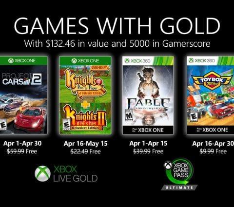 Xbox Live : les Games with Gold d'avril 2020 dévoilés