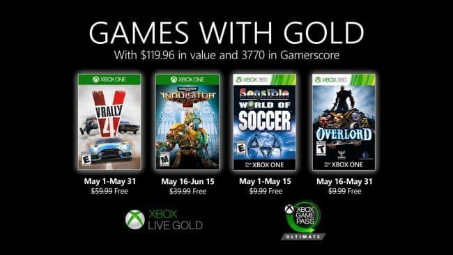 Jeux gratuits de mai 2020 avec Xbox Live Gold