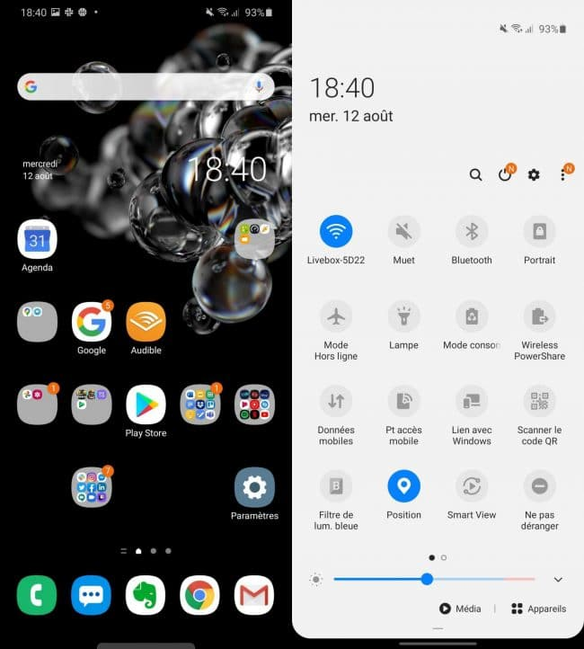 One UI sur le Samsung Galaxy S20 Ultra 5G