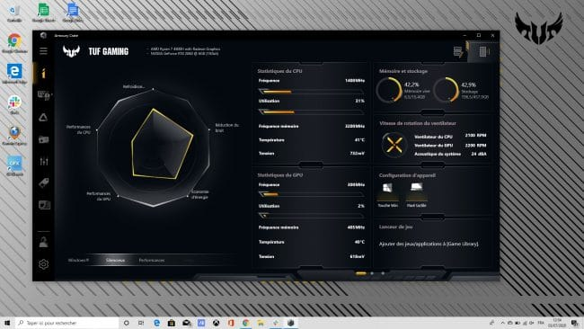 Armoury Crate sur l'Asus TUF Gaming A15