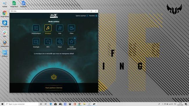 Réglages DTS:X Ultra sur l'Asus TUF Gaming A15