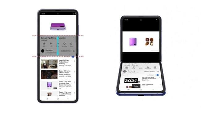 Le mode Flex avec l'application YouTube © Samsung