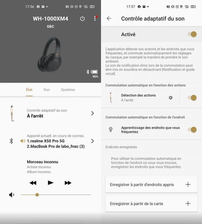 Réglages disponibles pour le Sony WH-1000XM4 dans Headphones Connect