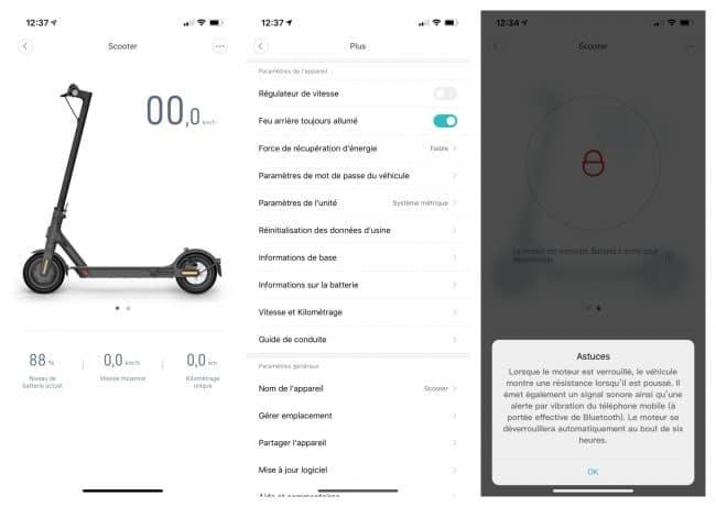 Réglages disponibles pour la Xiaomi Mi Electric Scooter Essential dans Xiaomi Home
