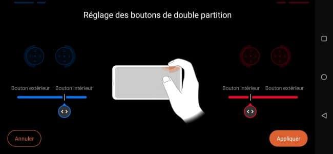 ROG Phone 3 : réglages disponibles pour la double partition des gâchettes AirTrigger