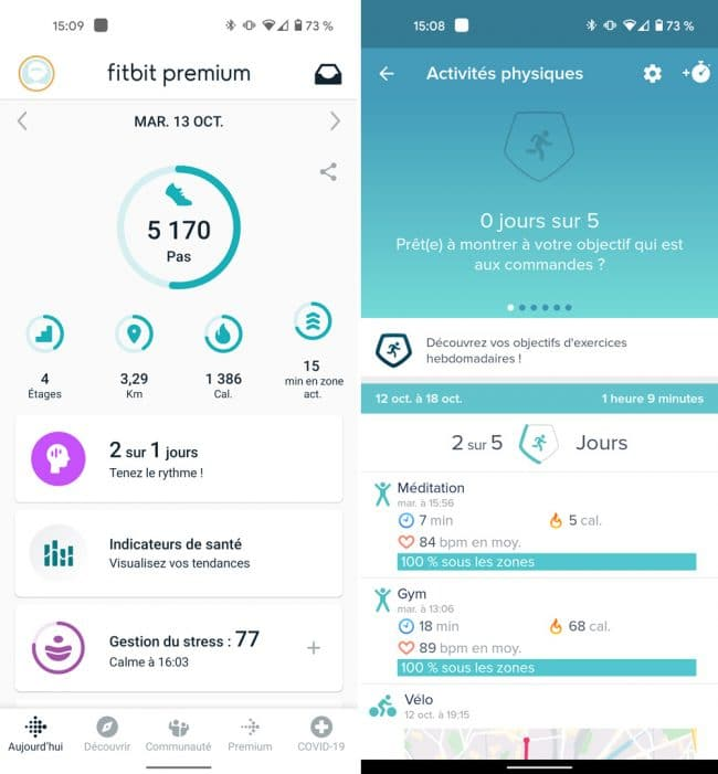 Fitbit Sense interface