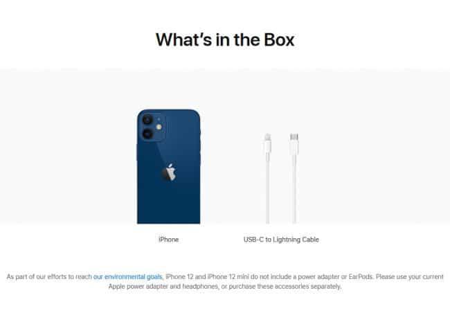 Aux États-Unis, l'iPhone est uniquement fourni avec un câble de charge © Capture d'écran/apple.com