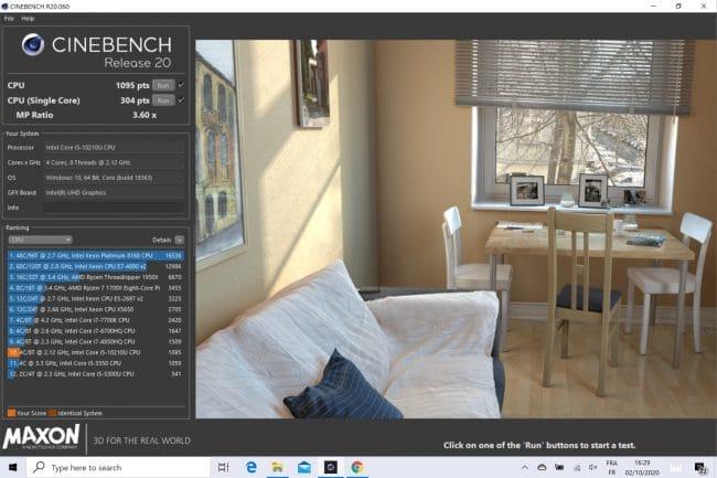 CineBench R20 sur le Huawei MateBook X 2020