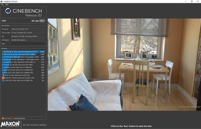 Cinebench Surface Laptop Go