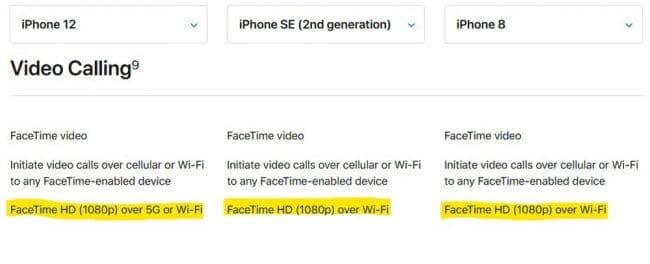 iPhone FaceTime HD 1080p