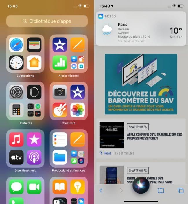 iOS 14 sur l'iPhone 12