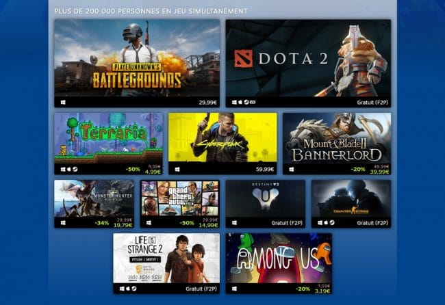 Top populaires Steam 2020