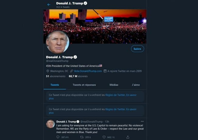 Compte Twitter Donald Trump