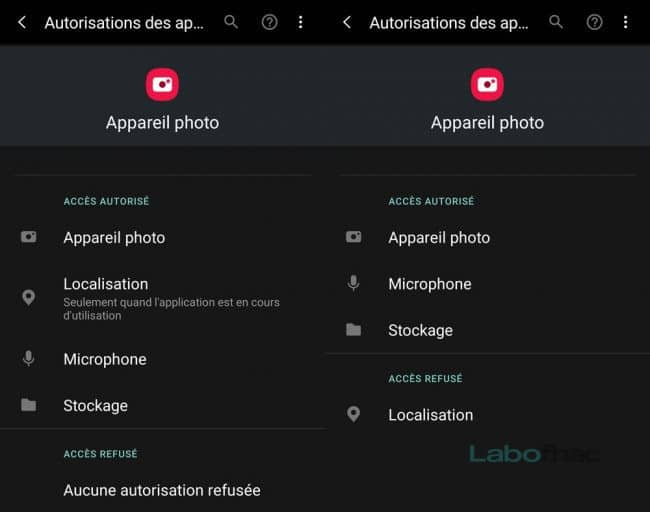Android autorisation appareil photo